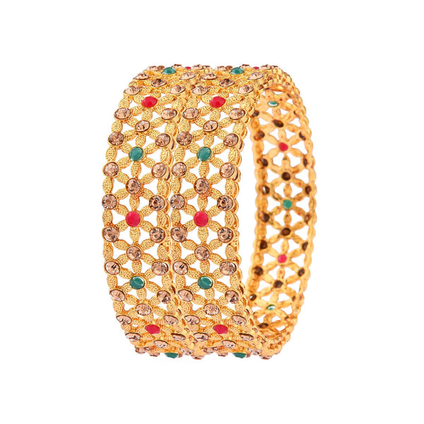 Femmibella Gold Plated Polki Cubic Zirconia Stone Studded Kada Bangle for Womens