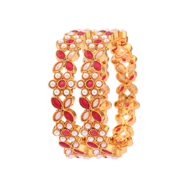 Femmibella Gold Plated Ruby Pearl Stone Studded Kada Bangle for Womens