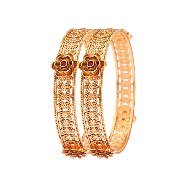 Femmibella Gold Plated Floral Ruby Stone Studded Kada Bangle for Womens