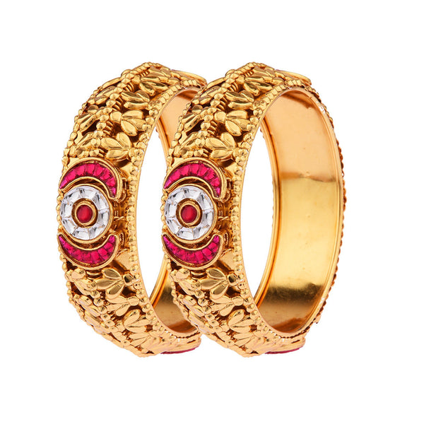 Femmibella Gold Plated Ruby Studded Kada Bangle for Womens