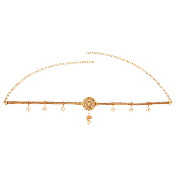 Femmibella Gold Plated Cubic Zirconia Studded with Pearl Latkan Waist Belt for Women