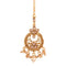 Femmibella Gold Plated CZ Studded Pearl Drop Traditional Style Maang Tikka for Women and Girl