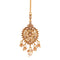 Femmibella Gold Plated CZ Studded Drop Pearl Bridal Maang Tikka for Women and Girl