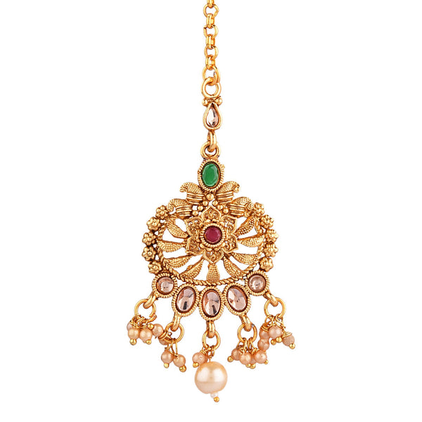 Femmibella Gold Plated CZ Polki Studded with Hanging Pearl Drop Maang Tikka for Women and Girl
