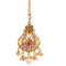 Femmibella Gold Plated Traditional Cubic Zirconia Polki Studded with Hanging Pearl Drop Maang Tikka for Women and Girl