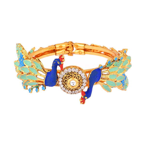 Femmibella Gold Plated Peacock Kundan Cubic Zirconia Meenakari Bracelet Jewellery for for Women