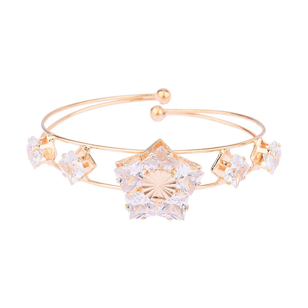 Femmibella Rose Gold Plated White Cubic Zirconia Big Floral Design Bracelet for Women
