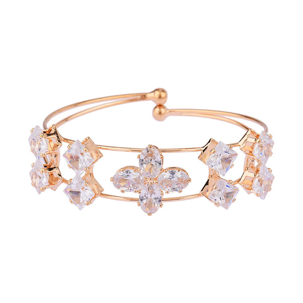 Femmibella Gold Plated White Cubic Zirconia Stone Studded Bracelet for Women