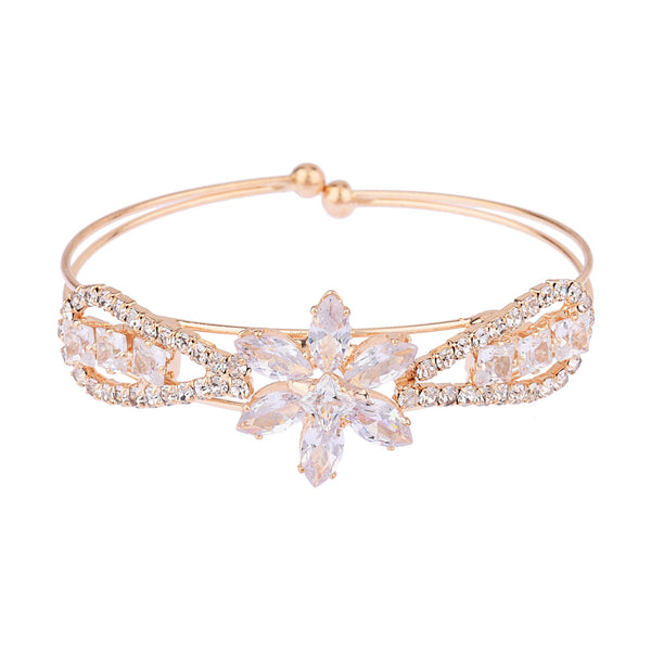 Femmibella Gold Plated Floral Design White Cubic Zirconia Stone Studded Bracelet for Women