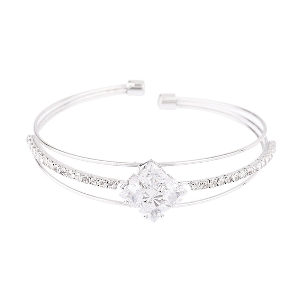 Femmibella Silver Plated White Cubic Zirconia Bracelet for Women
