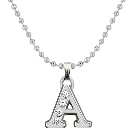 "Regina Rhodium Plated ""A"" Alphabet Chain Pendant"