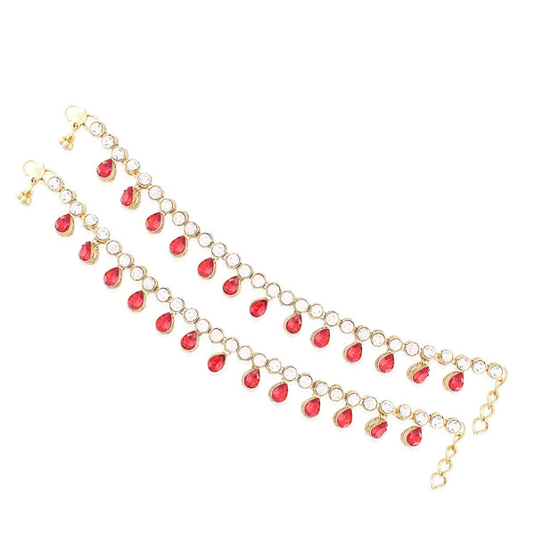 I Jewels Traditional Gold Plated Kundan Drop Payal/Anklets