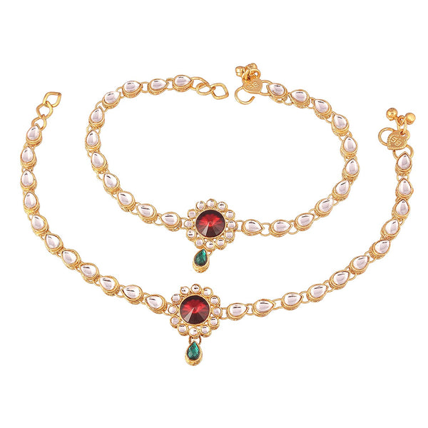 I Jewels Traditional Gold Plated Anklets