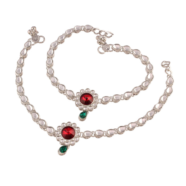 I Jewels Traditional Silver Plated Kundan Anklets