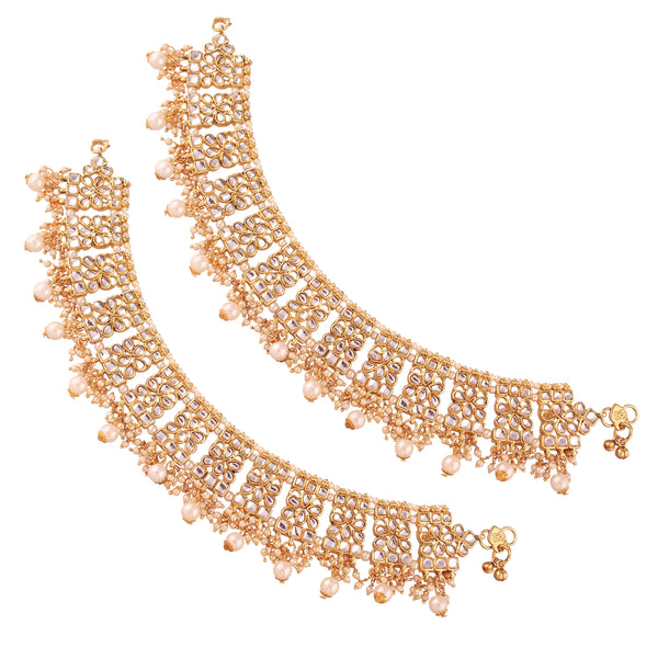 I Jewels Gold Plated Bridal Kundan Anklets For Women (A022W)