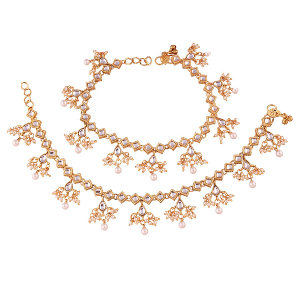 I Jewels Gold Plated Traditional Kundan Anklets For Women (A025W)