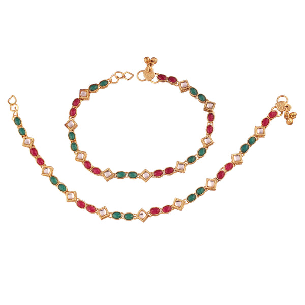 I Jewels Gold Plated Traditional Kundan Anklets For Women (A026MG)