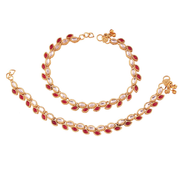I Jewels Gold Plated Traditional Kundan Anklets For Women (A027M)