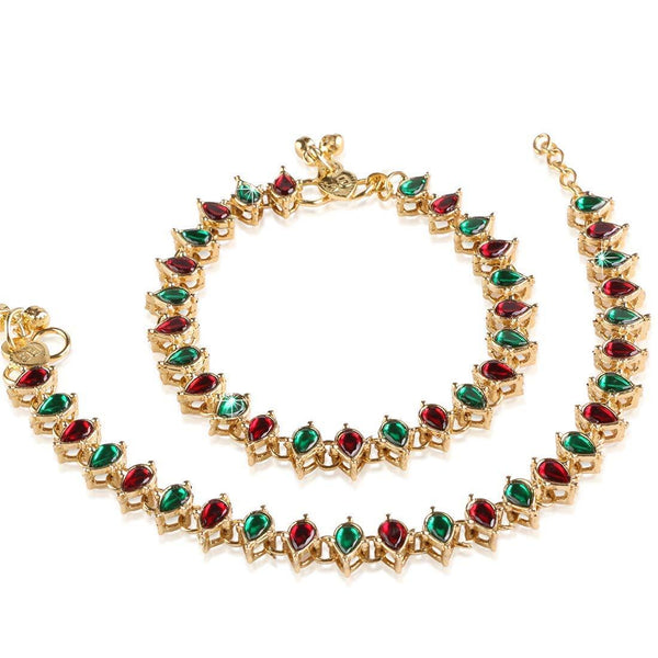 I Jewels Traditional Gold Plated Kundan Anklets Payal For Girls & Women (A029MG)