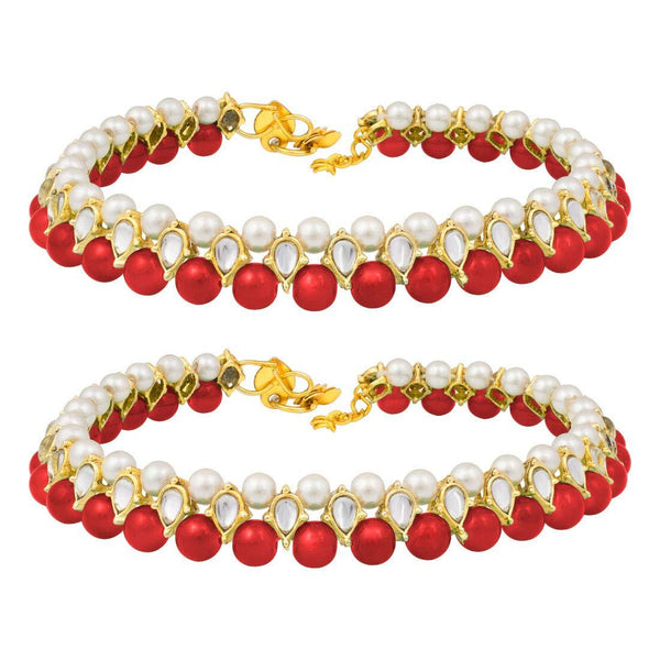 I Jewels Traditional Gold Plated Kundan Pearl Anklets Payal For Girls & Women (A030R)