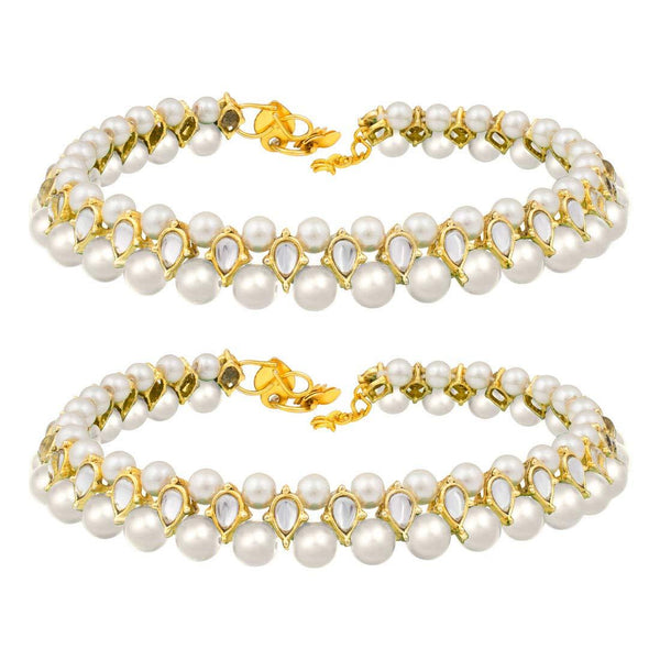 I Jewels Traditional Gold Plated Kundan Pearl Payal/ Anklets