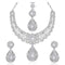 Kriaa Silver Plated Austrian Stone Necklace Set With Maang Tikka