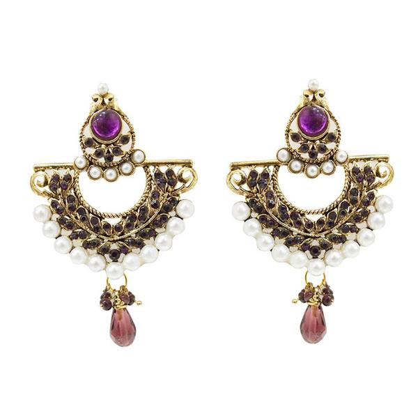 Kriaa Gold Plated Austrian Stone Pearl Drop Chandbali Earrings