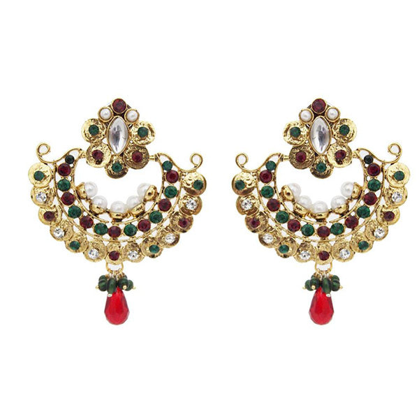 Kriaa Austrian Stone Gold Plated Kundan Chandbali Earrings