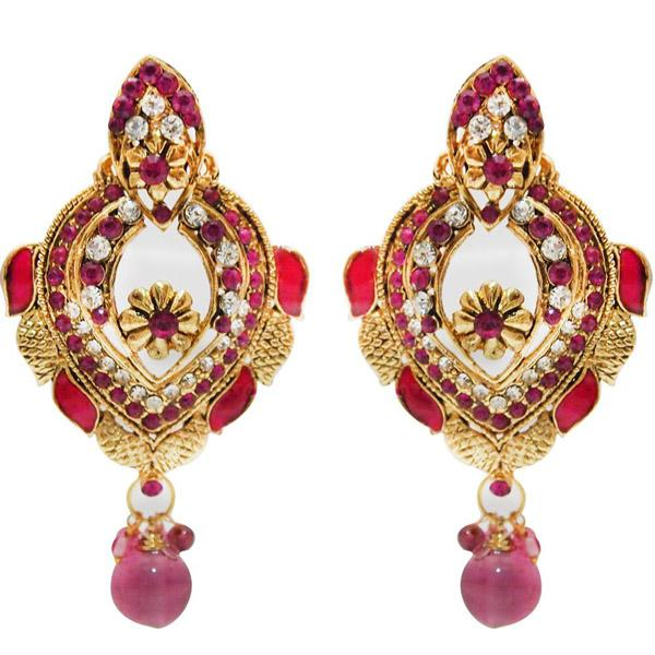 Kriaa Austrian Stone Meenakari Gold Plated Dangle Earrings