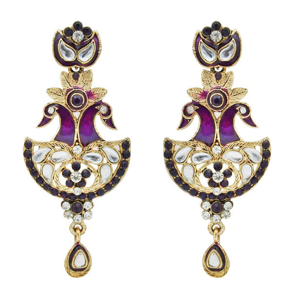Kriaa Kundan Stone Meenakari Gold Plated Peacock Earrings