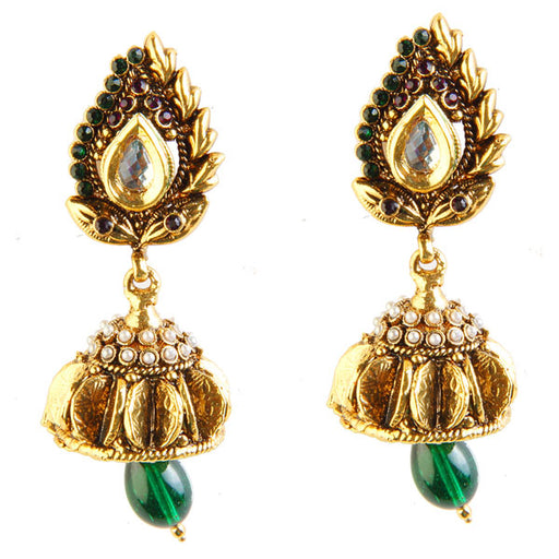Kriaa Austrian Stone Antique Gold Plated Jhumki Earrings