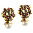 Kriaa Red Pota Stone Antique Gold Plated Dangler Earrings