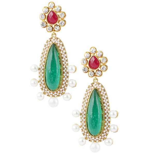 Kriaa Green Austrian Stone Gold Plated Dangler Earrings
