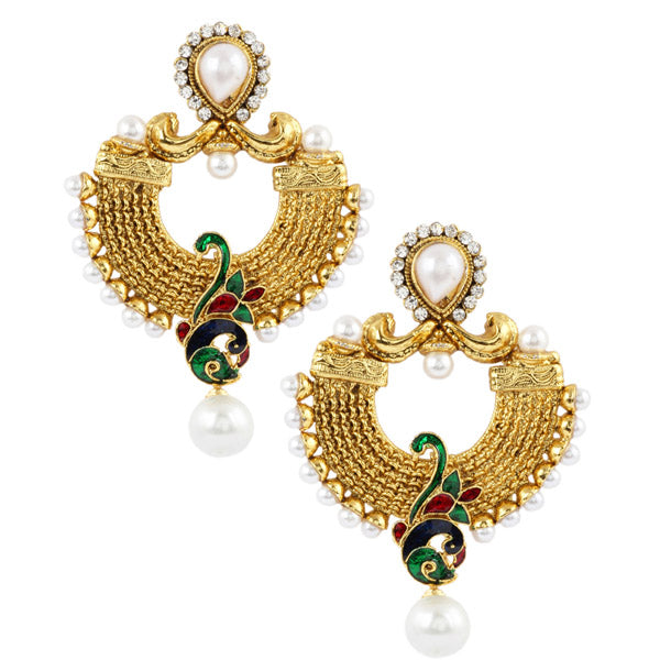 Kriaa Austrian Stone Red Meenakari Peacock Earrings