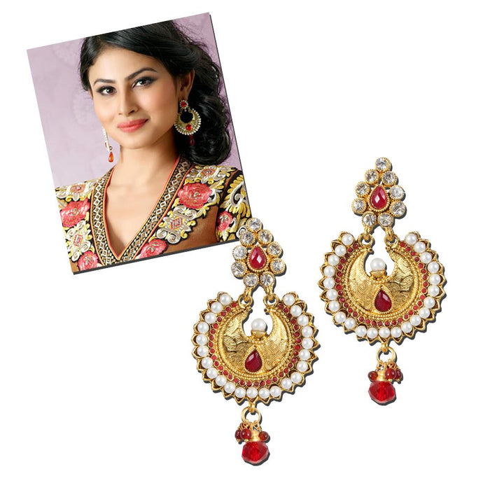 Kriaa Stone Pearl Gold Plated Dangle Chandbali Earrings