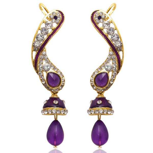The99Jewel Stone Meenakari Gold Plated Dangler Earrings