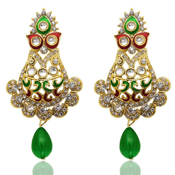 The99jewel Kundan Green Stone Meenakari Dangler Earrings