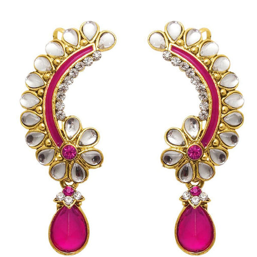 The99Jewel Kundan Austrian Stone Pink Meenakari Dangler Earrings - Jewelmaze.com