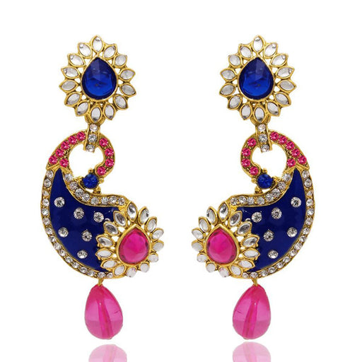 The99Jewel Blue Kundan Stone Peacock Earrings