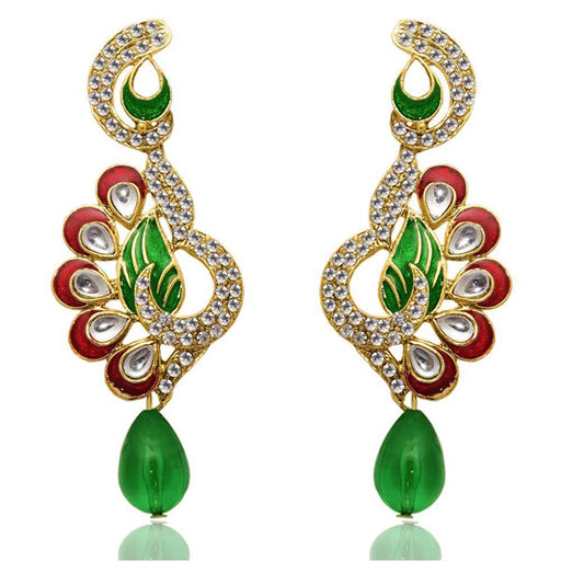 The99Jewel Kundan Meenakari Stone Dangler Earrings