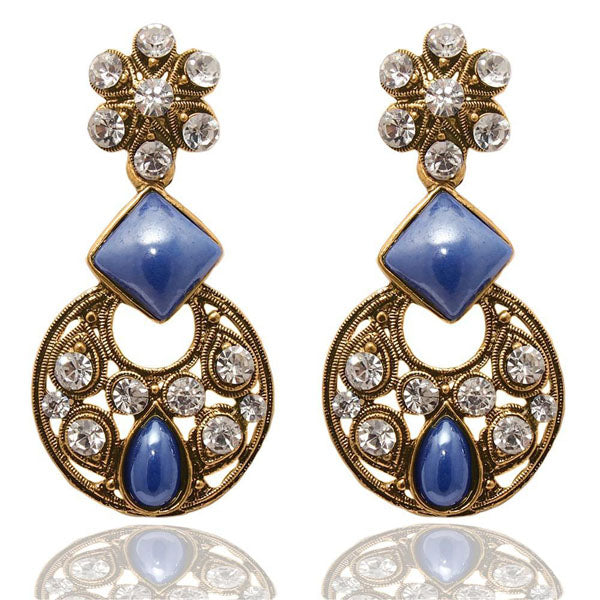 The99Jewel Blue Austrian Stone Chandbali Earrings