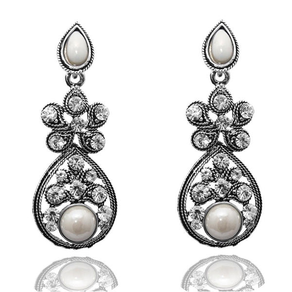 The99jewel White Peral Stone Silver Plated Dangler Earrings