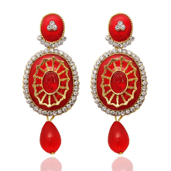 The99jewel Stone Red Meenakari Gold Plated Dangler Earrings