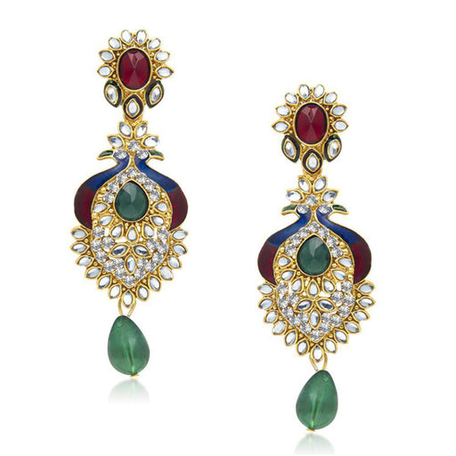 The99jewel Kundan Stone Meenakari Peacock Earrings