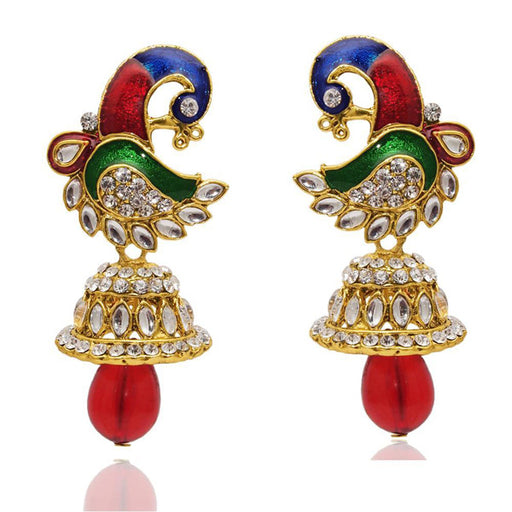 The99 Jewel Red Austrain Stone Kundan Peacock Earrings
