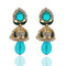 The99jewel Kundan Blue Austrian Stone Meenakari Jhumki Earrings