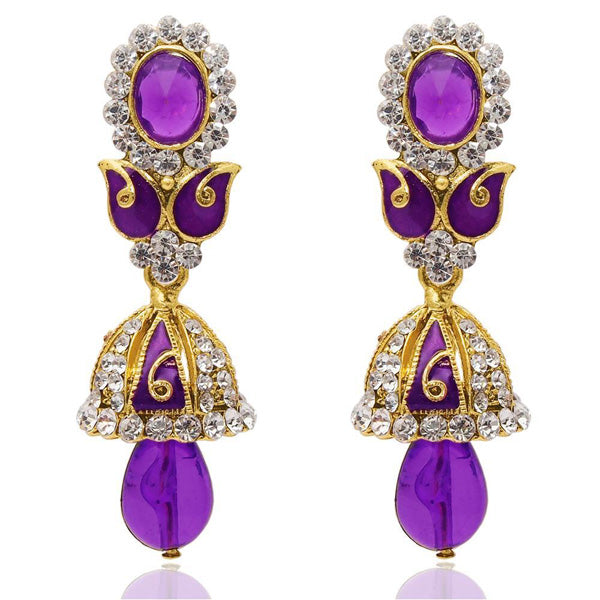 The99Jewel Purple Austrian Stone Meenakari Jhumki Earrings