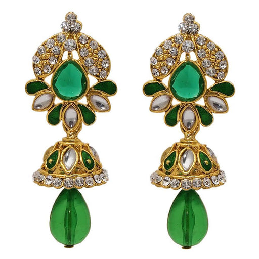 The99jewel Green Kundan Austrian Stone Dangler Earrings