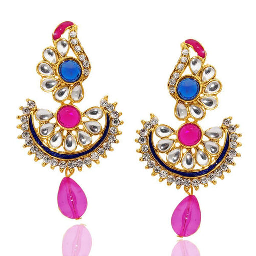 The99Jewel Kundan Stone Meenakari Dangler Earrings