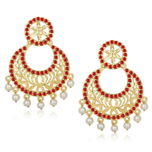 Kriaa Stone Pearl Drop Gold Plated Chandbali Earrings